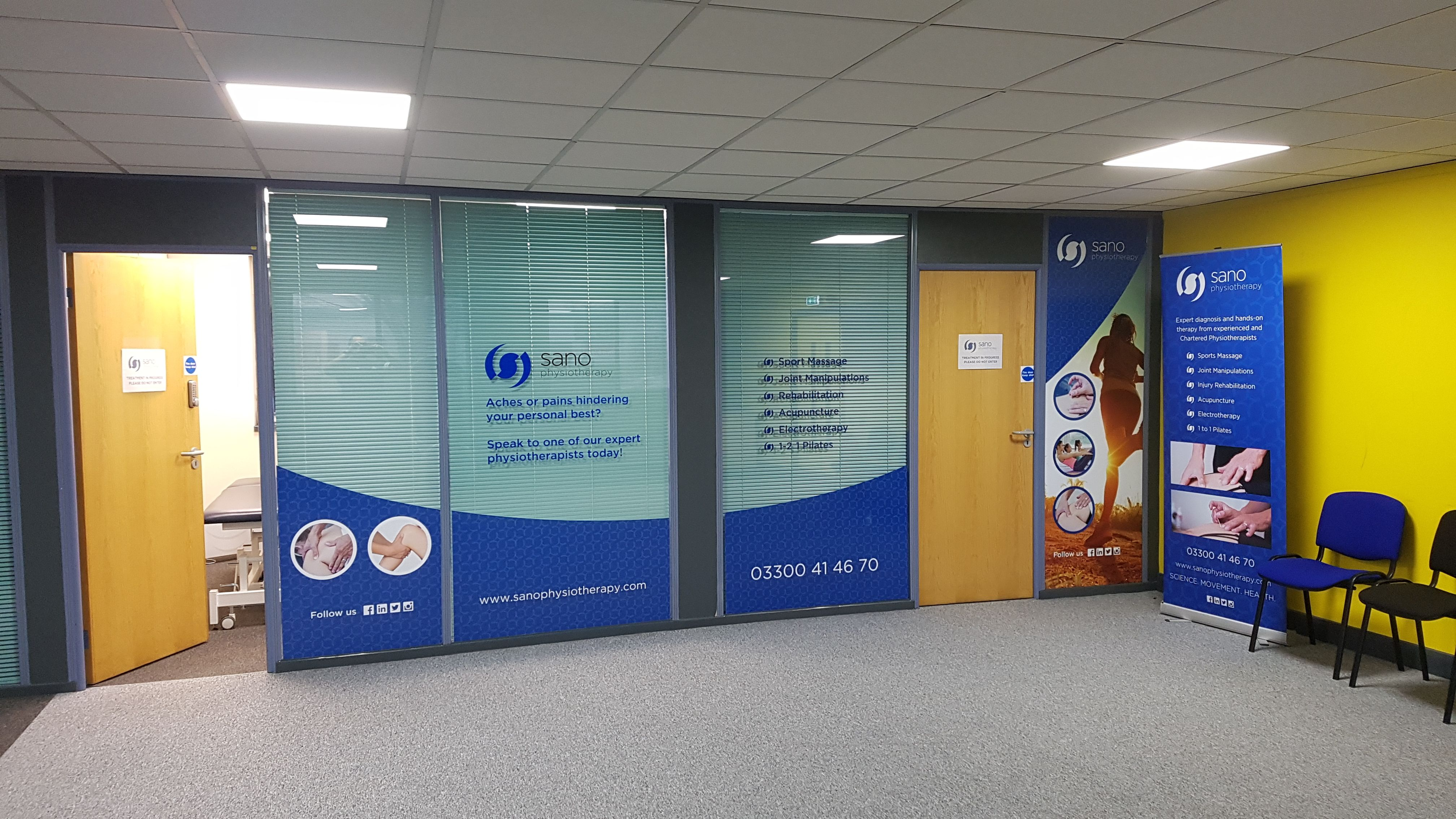 An image showing the signage for Sano Physiotherapy Smethwick located in Xercise4Less Smethwick