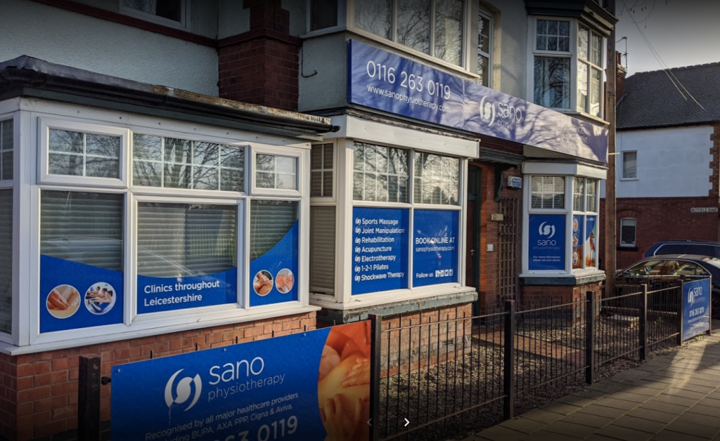 Physiotherapy Leicester. An image of the outside of the Sano Physiotherapy clinic building in Leicester